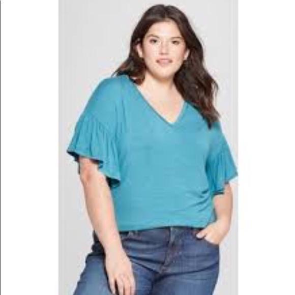 038cdbdd1ec Ava   Viv new ruffle sleeve v-neck t-shirt 1X NWT